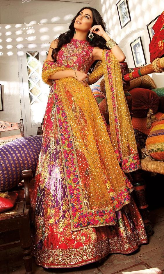 Pakistani Bridal Dresses for Mehndi in Orange and Shocking Pink Color