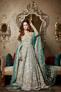 Pakistani Bridal Dresses for Walima in Grey and Silver Color