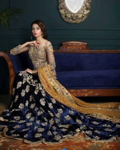Pakistani Bridal Dresses for Walima in Navy Blue Color