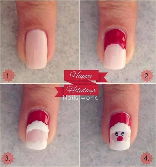 Easy Santa Nail Art Designs Step by Step at Home