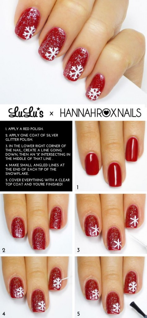 Easy snowflake Nail Art Designs Step by Step at Home