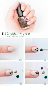 Easy Christmas Tree Nail Art Designs Step by Step at Home