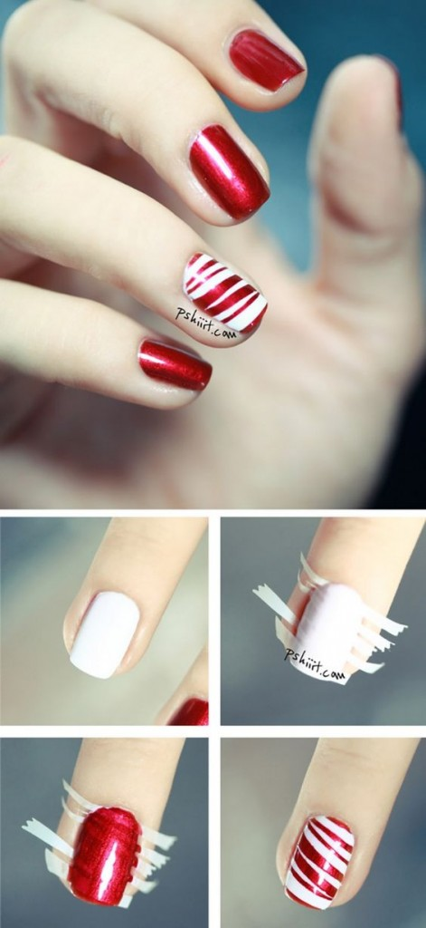 Easy Striped Nail Art Designs Step by Step at Home