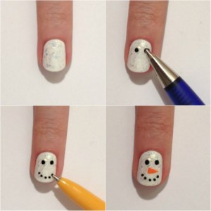 Easy snow man Nail Art Designs Step by Step at Home