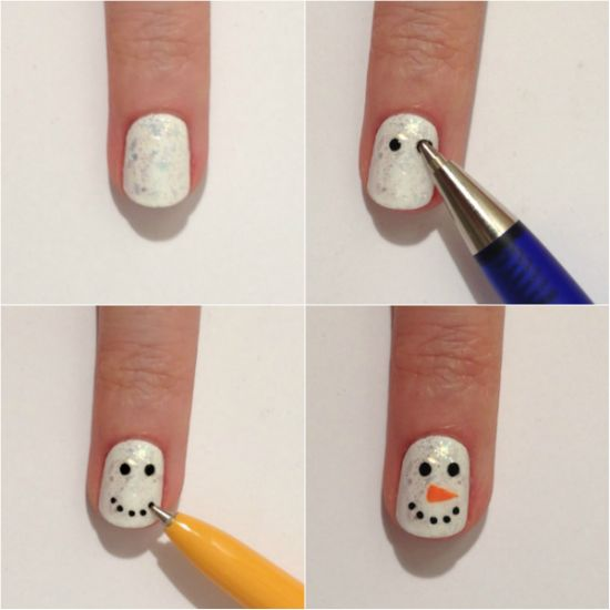 Easy snowman Nail Art Designs Step by Step at Home