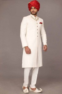 Pakistani Sherwani Designs In White color With Red Pagri