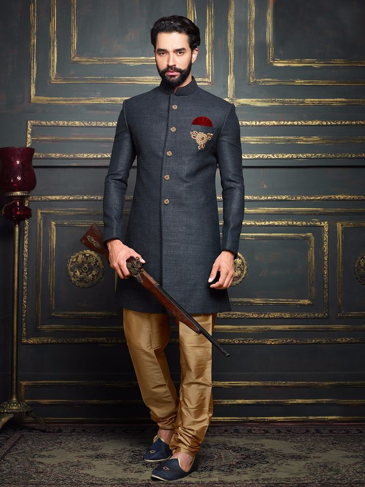 Pakistani Sherwani Designs In Blue Color