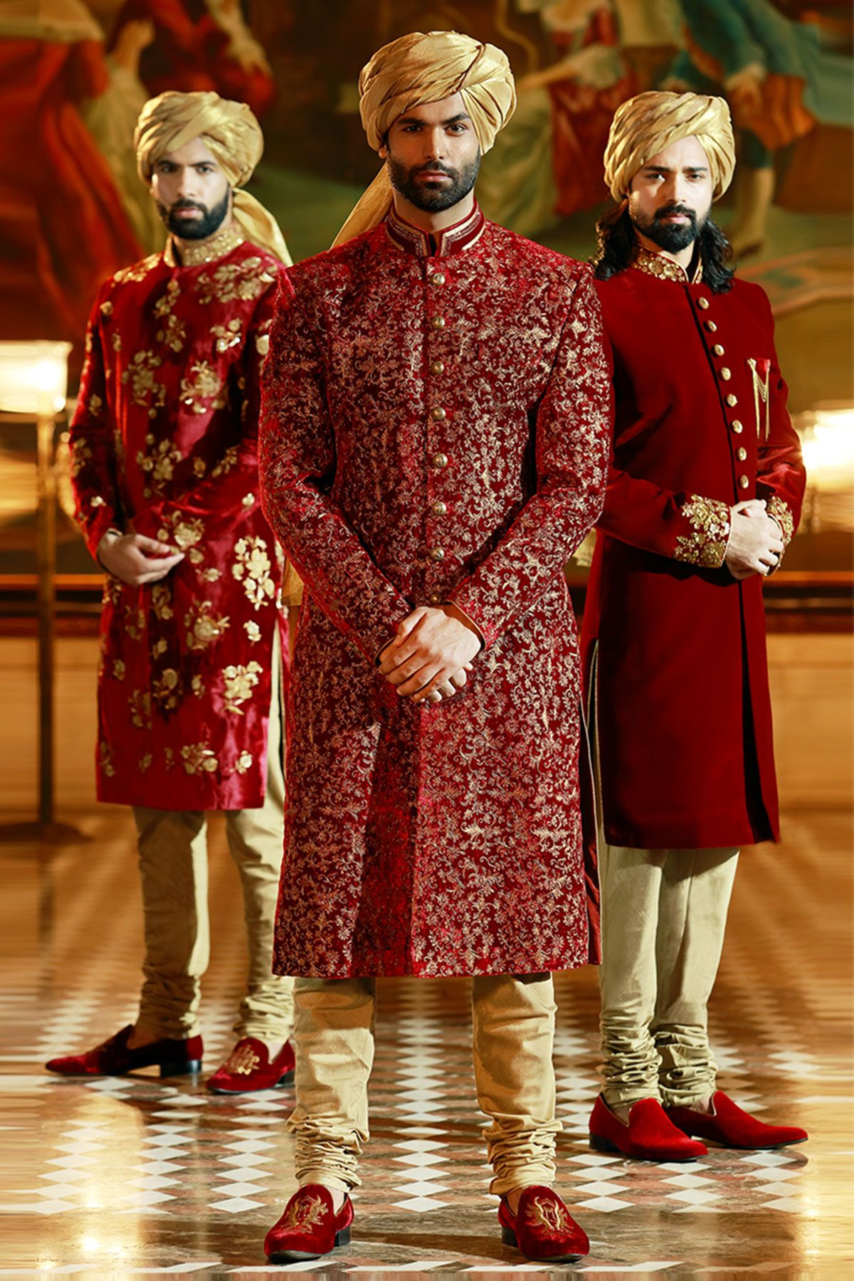 Pakistani Sherwani Designs in Maroon color