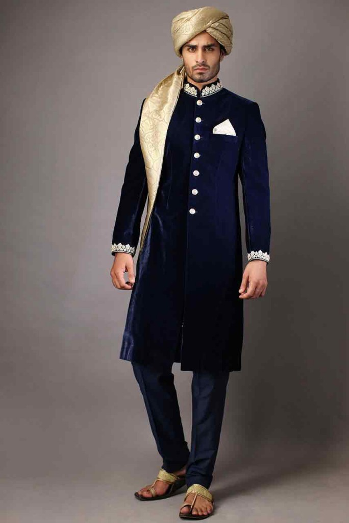 Pakistani Sherwani Designs in Blue Velvet