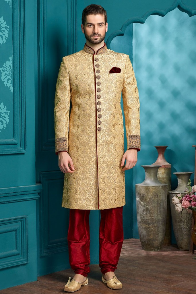 Pakistani Sherwani Designs in Gold Color for Groom