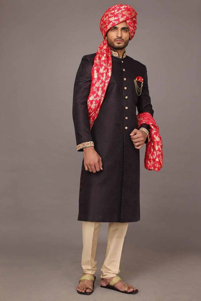Pakistani Sherwani Designs in Black Color with Kulah