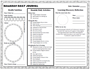 Preparing for Ramadan Daily Ramadan Journal