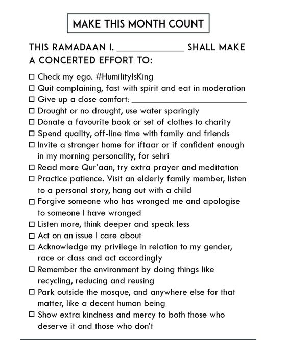 Ramadan Preparation Checklist