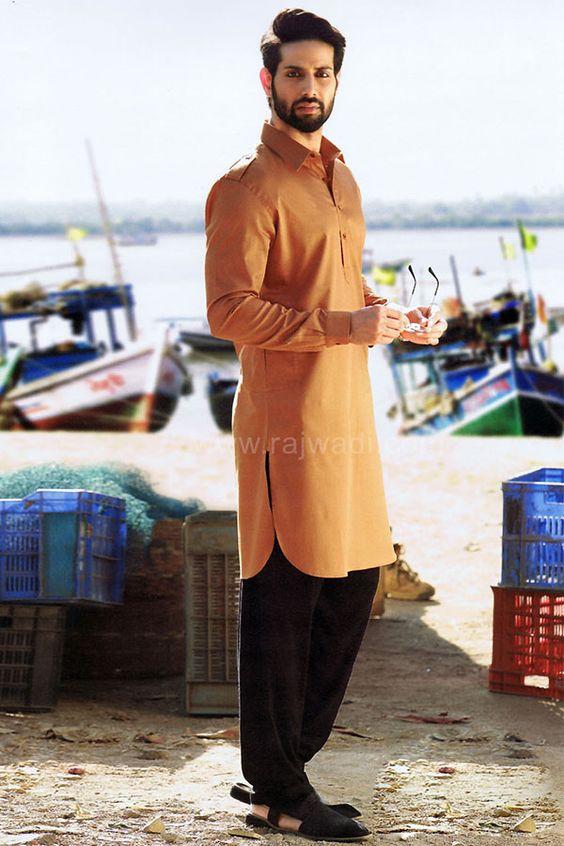 Pathani kurta for Party Wear in Yellow Color