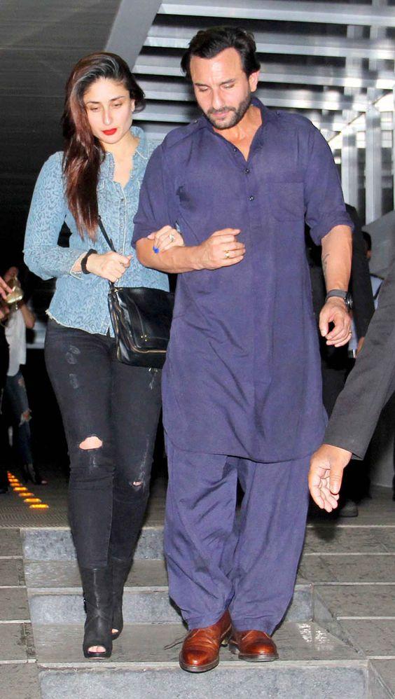 Saif Ali Khan in Designer Pathani Suit in Blue Color