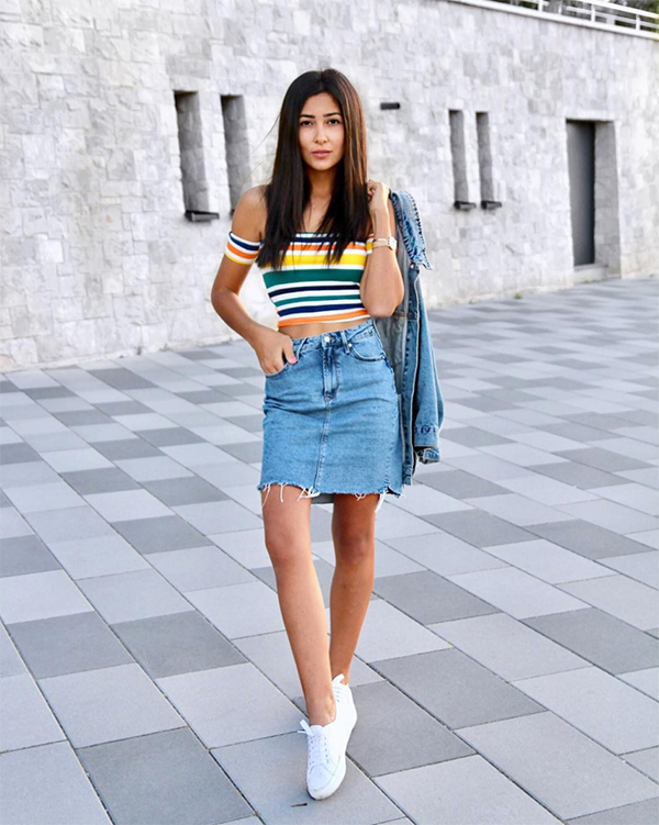 Stylish Tops Designs with Denim skirt