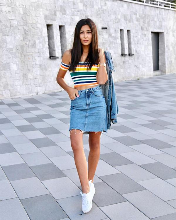 Stylish Tops Designs with Denim skirt